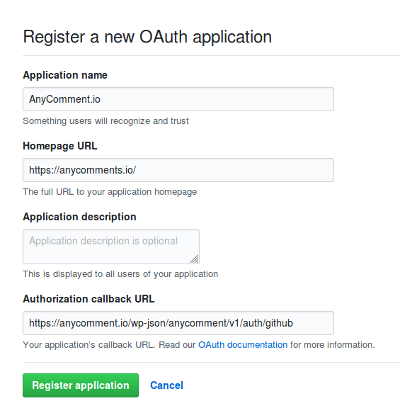 GitHub new API application