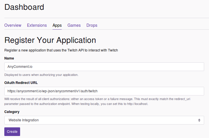 Twitch create new application in API
