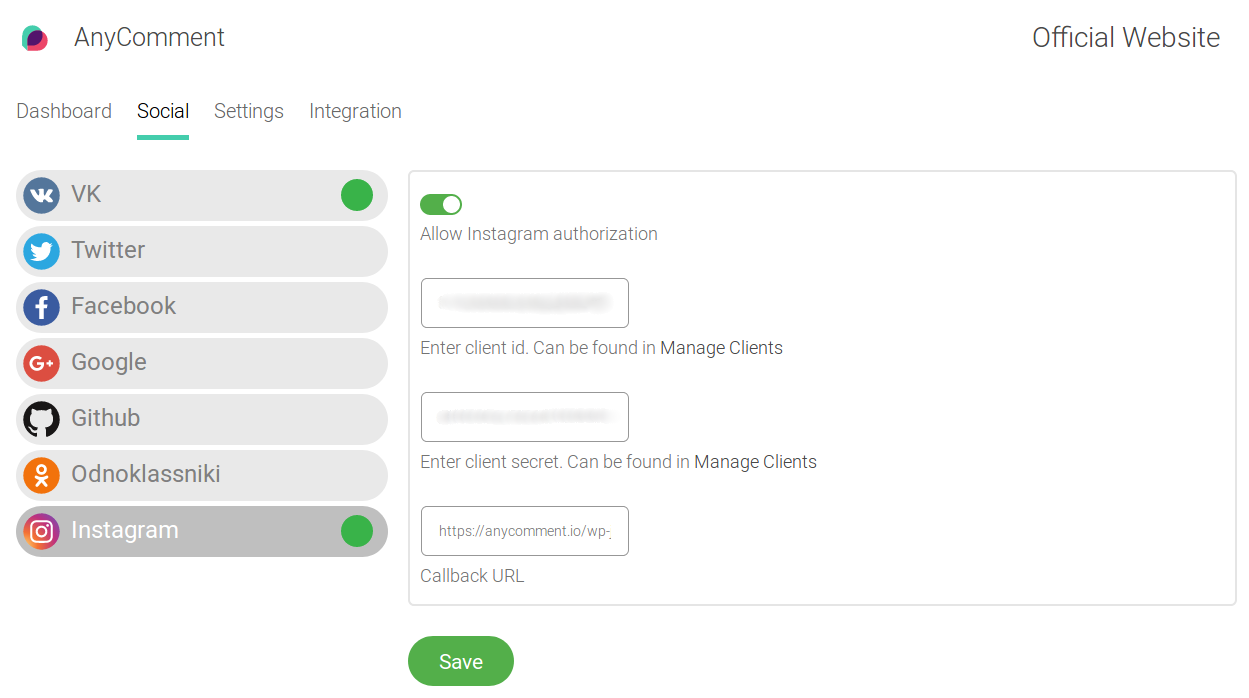 Enter Copied Client ID & Secret in Instagram tab inside AnyComment