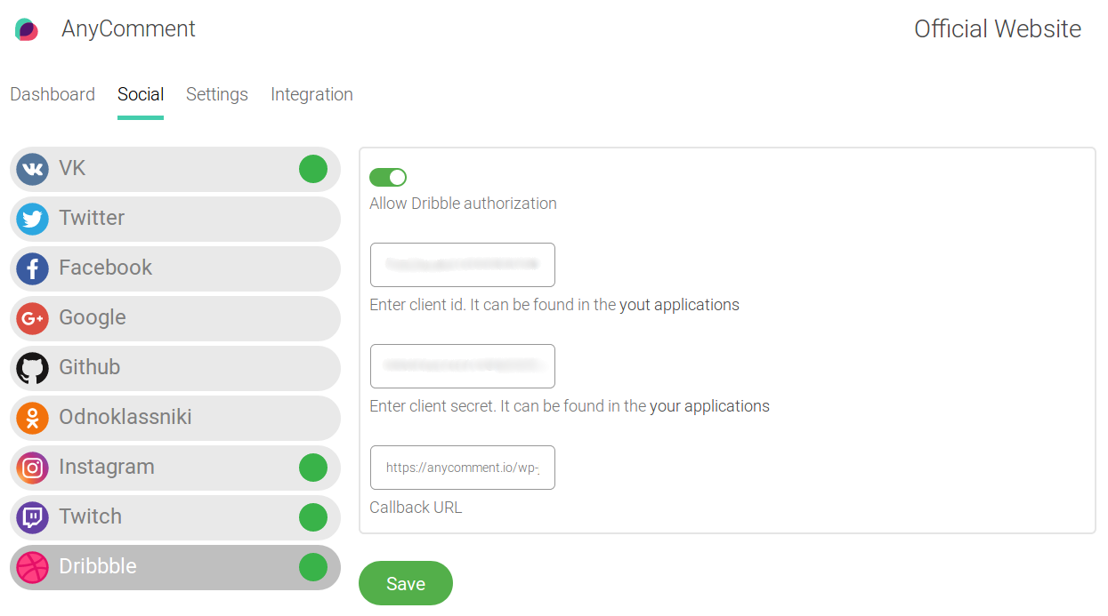 FIll in Dribbble API details in AnyComment