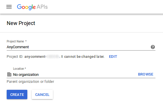 Google Console Create Project