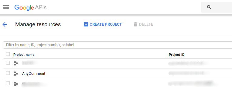 Google Console Manage Resources