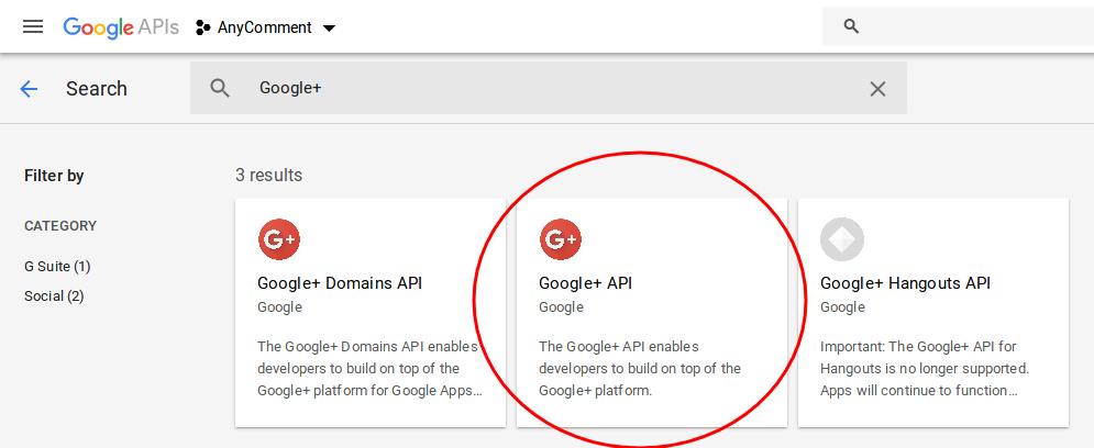 Find Google+ API