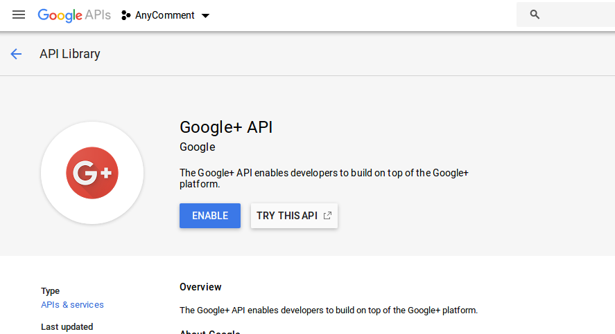 Google Console: click enable