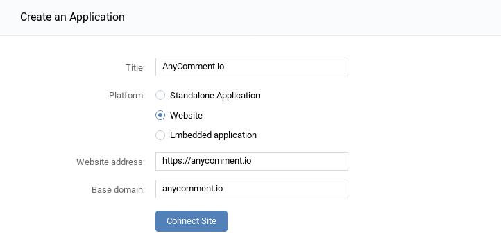 VK API configuration fill in website data
