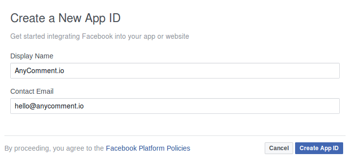 Facebook create new app for API modal window