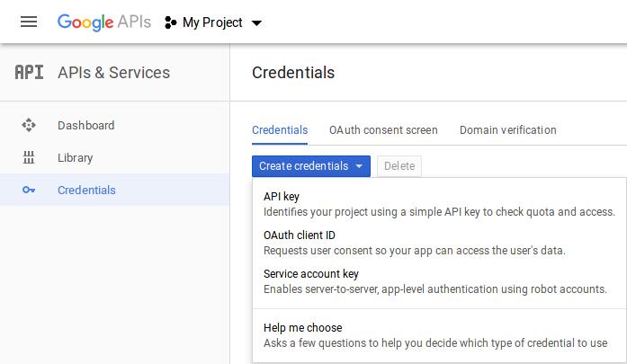 Google create new API key