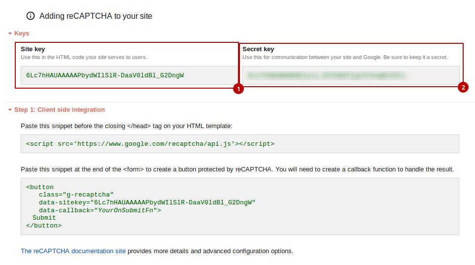 Get API keys from reCAPTCHA