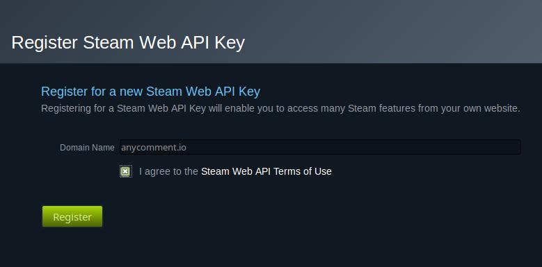 Create new Steam API key